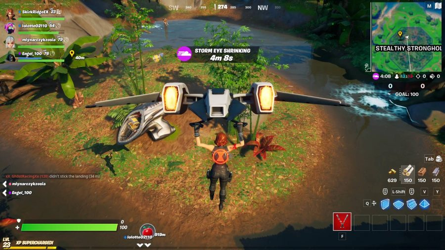 Simply fly to Stealthy Stronghold and go to the northwest of the location to find the mysterious pod in Fortnite. It's by a tree and you need only approach it to complete the task.