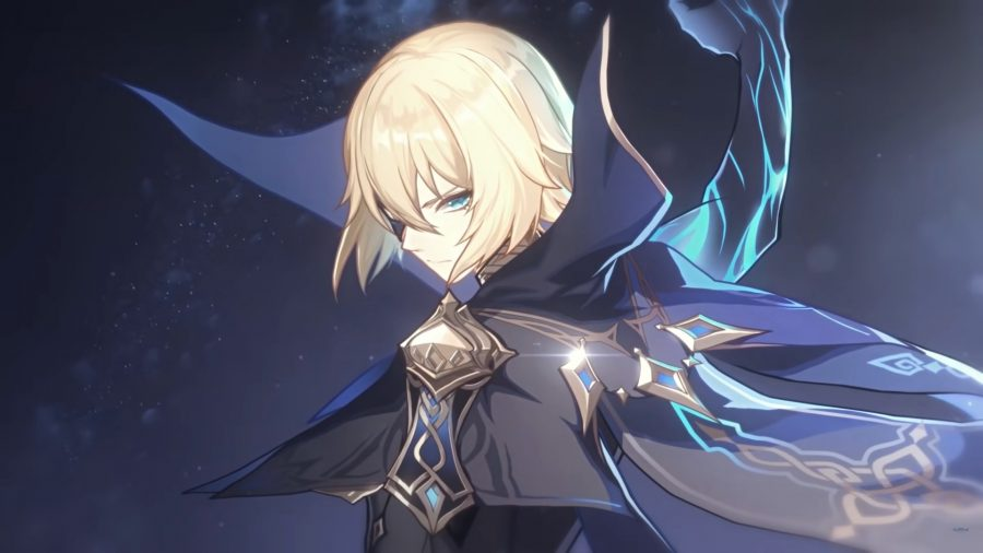 Dainsleif, a potential new Genshin Impact character, wielding magical forces and wearing a dark blue cape