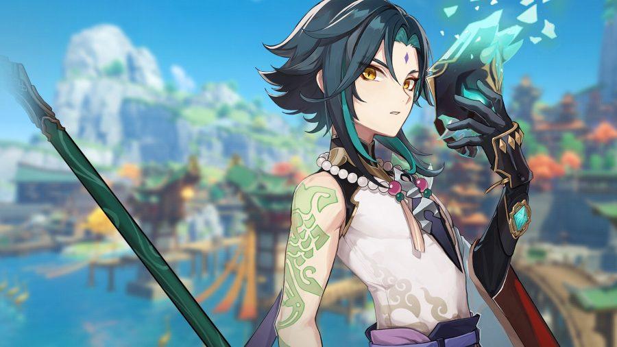 New Genshin Impact character Xiao standing in Liyue harbour