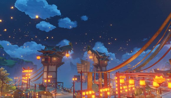 Lanterns floating through the sky during Genshin Impact's Lantern Lite festival