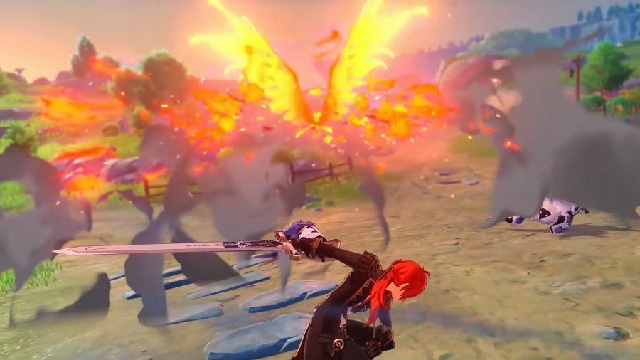 Diluc using his Elemental Burst in Genshin Impact