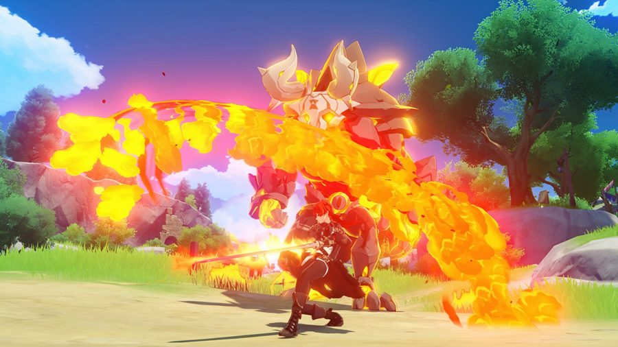 An arc of flame surrounds a character fighting a large foe