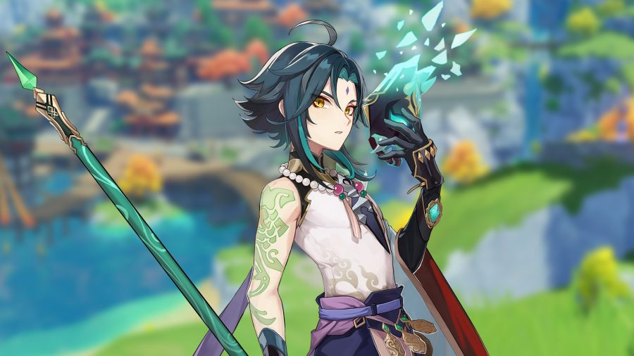 Xiao, the latest character added in Genshin Impact 1.3, holding his Yaksha mask