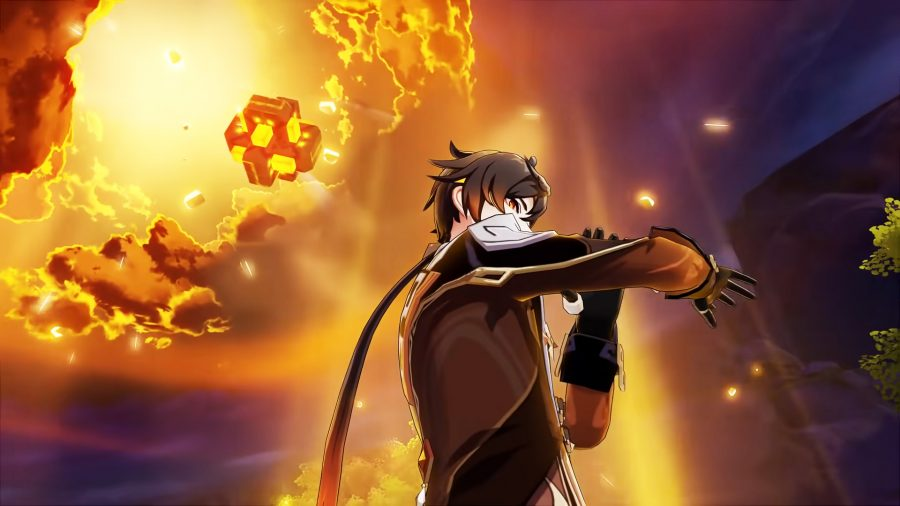 Zhongli attacking with his Elemental Burst: Planet Befall in Genshin Impact