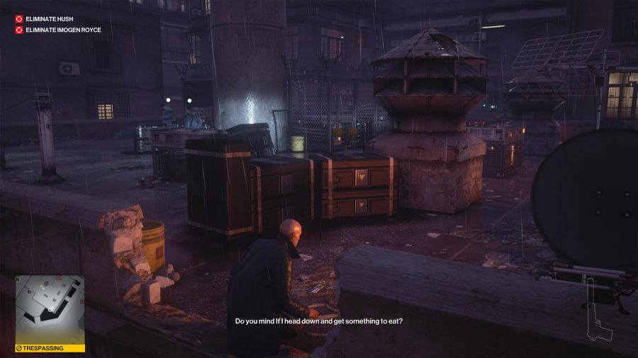 Agent 47 is on a rooftop in Hitman 3's Chongqing level