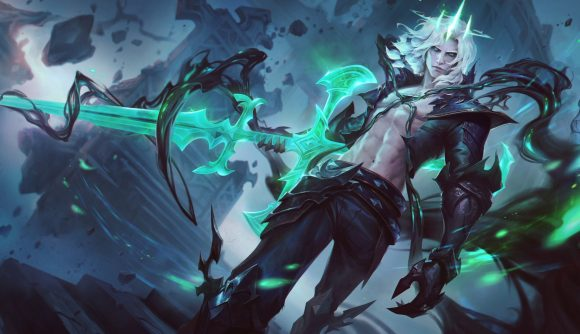 League of Legends champion Viego, the Ruined King, wileds a glowing green sword