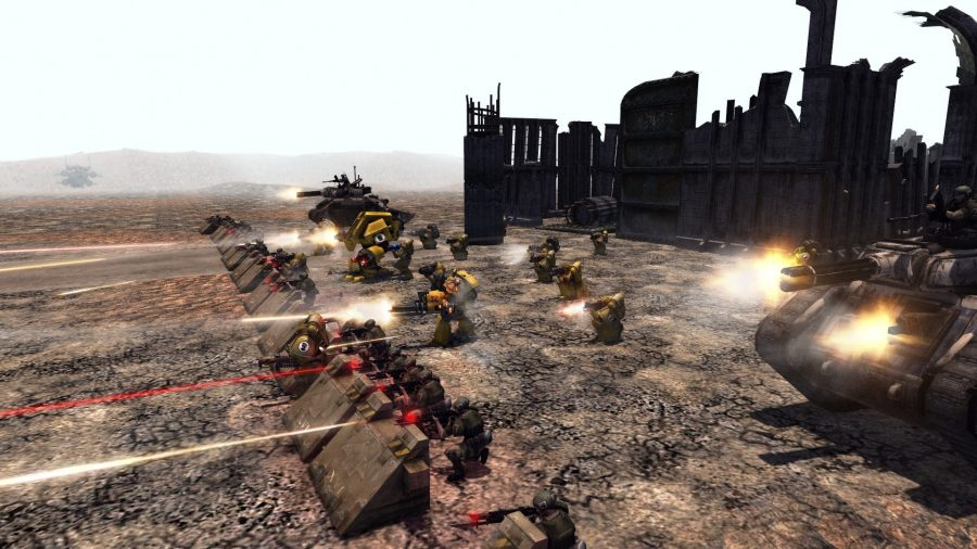 Warhammer 40k imperium infantry and tank units defending some ruins