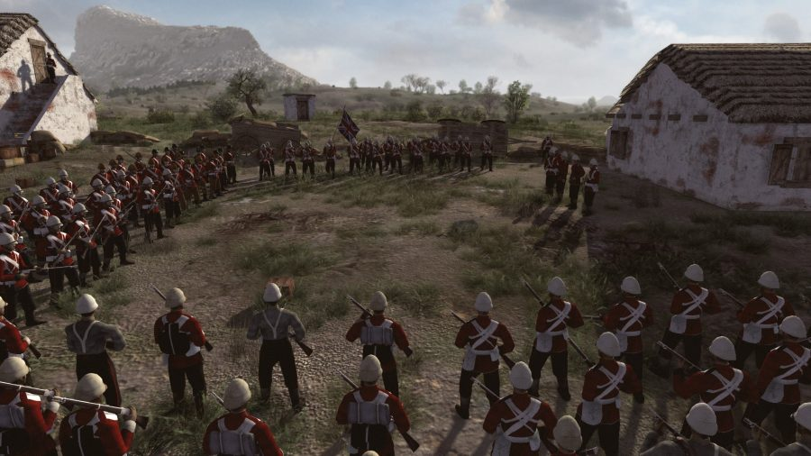 Rows of red-coated British colonial infantry stand in a square, facing inwards