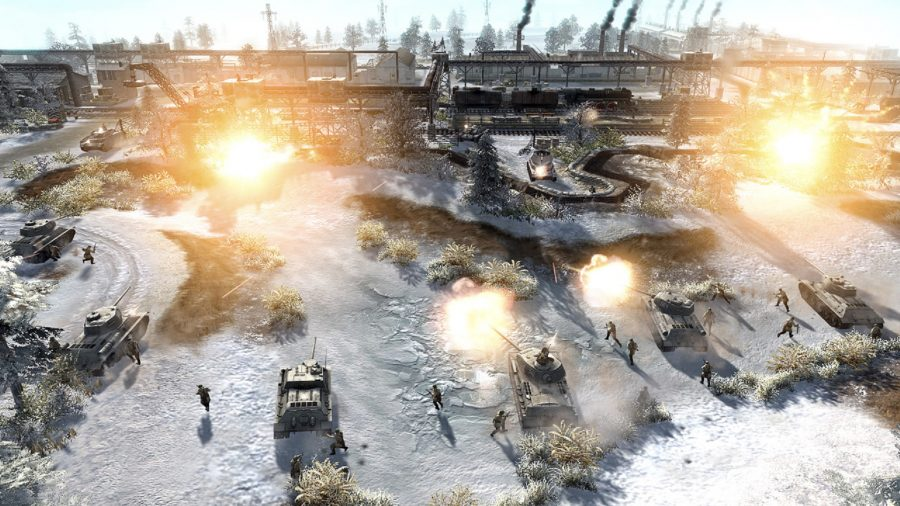 infantry and tanks assault a train station, snow is everywhere