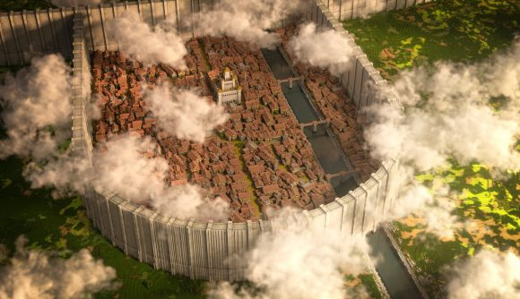 The city of Shiganshina from Attack on Titan recreated in Minecraft