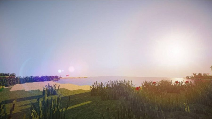 Minecraft lagless shader shows a beautiful coastal scene with a setting sun, a beach and some flowers.
