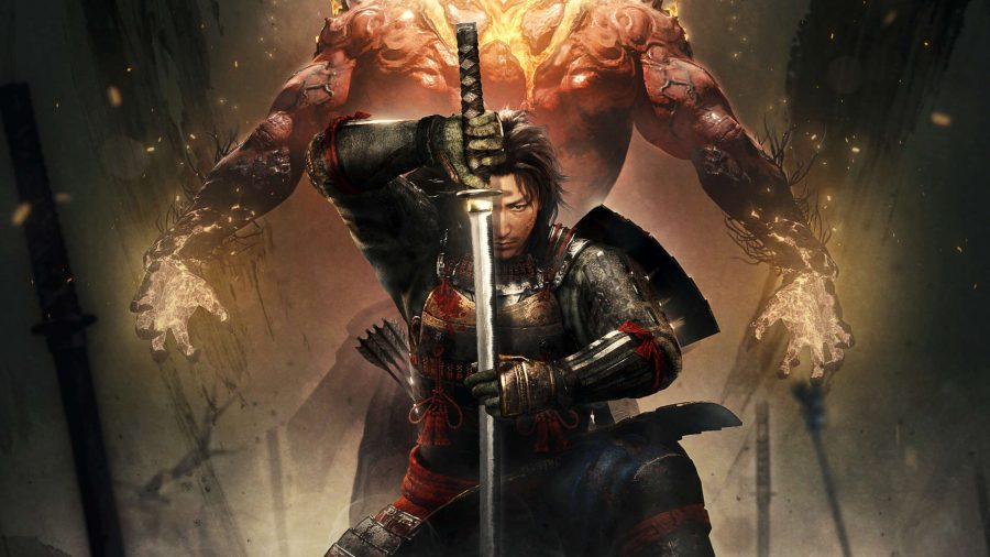 A representation of the main protagonist of Nioh 2, complete with yokai form behind him.