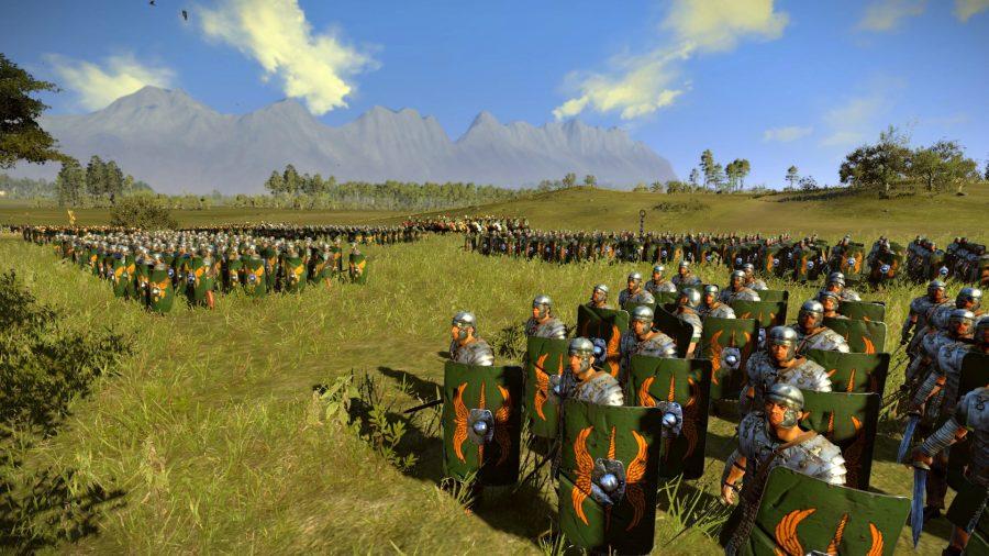 Roman legionaries in Brutii green in a field