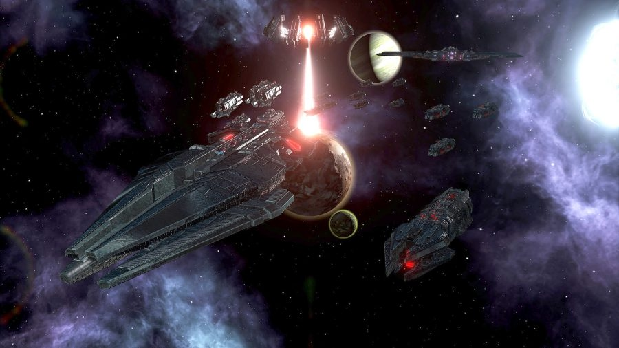 A fleet of ships in space, a planet killer in the background in stellaris