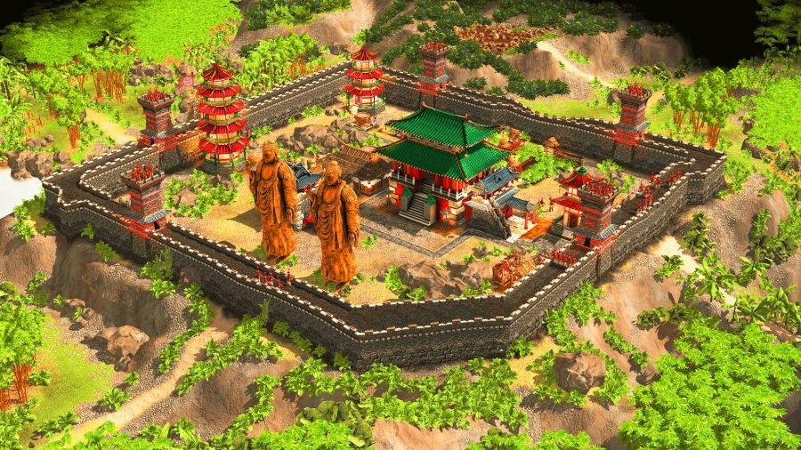 Walled city with monuments in Stronghold: Warlords