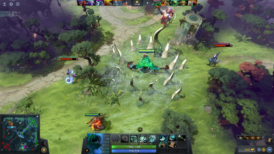 Dota 2 shot showing a tentacled creature fighting three heroes
