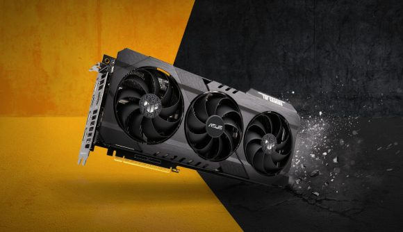 Asus's TUF Nvidia RTX 3060 graphics card against a yellow and stone grey background, showing its namesake by breaking the ground