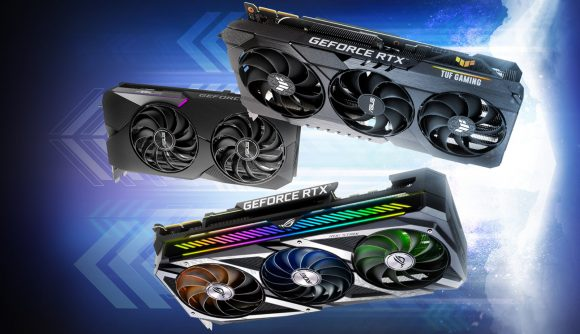 Three Nvidia RTX 3080 graphics cards float in the air from Asus's ROG and TUF ranges