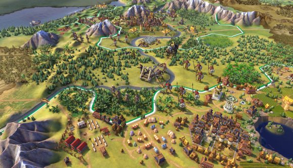 A settlement in Civilization 6, next to a forest, mountains and coastline in the distance