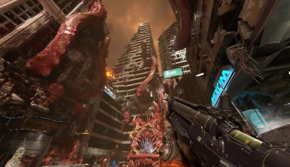 Looking at an Earth city covered in gore in Doom Eternal