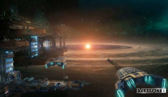 A space colony, with several ships in view, all looking at a glowing star in the distance