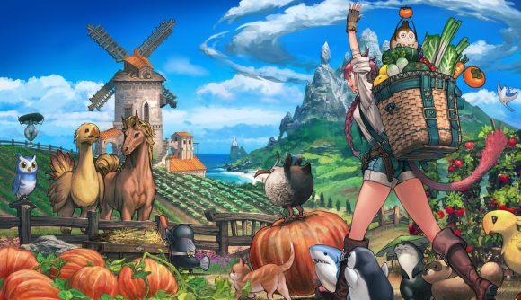 A Final Fantasy XIV character walking towards their crops and animals