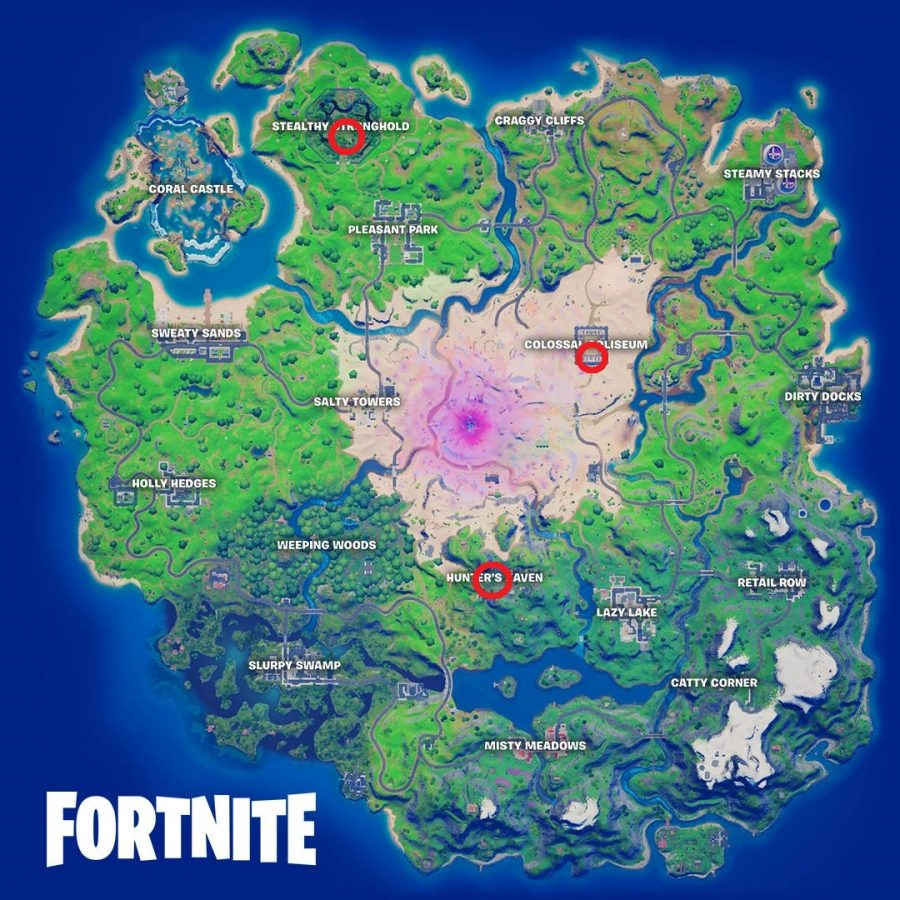 The three Surface Hub locations on the Fortnite map are circled in red.