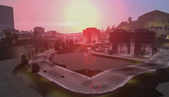 The sun setting over a suburban road in GTA 3, that's been improved thanks to mods