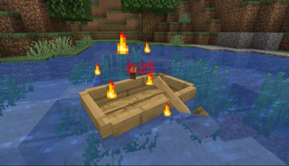 A basic paddle boat on water in Minecraft with countdown over it