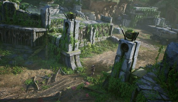 An overgrown stone gateway, part of a long abandoned stone base of some kind