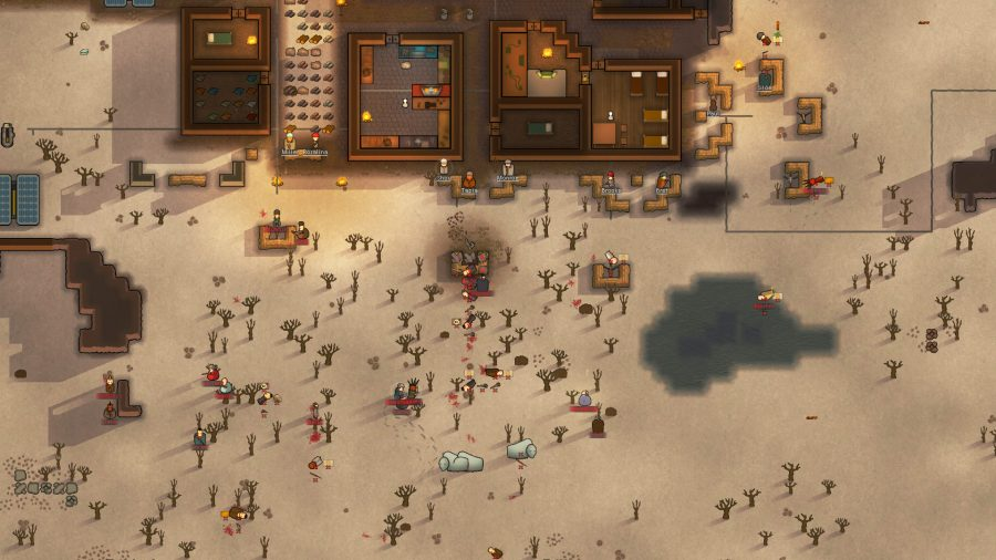 a desert colony defends itself from raving monsters