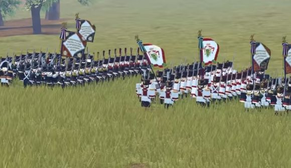 Two battalions getting ready to battle in Roblox Waterloo
