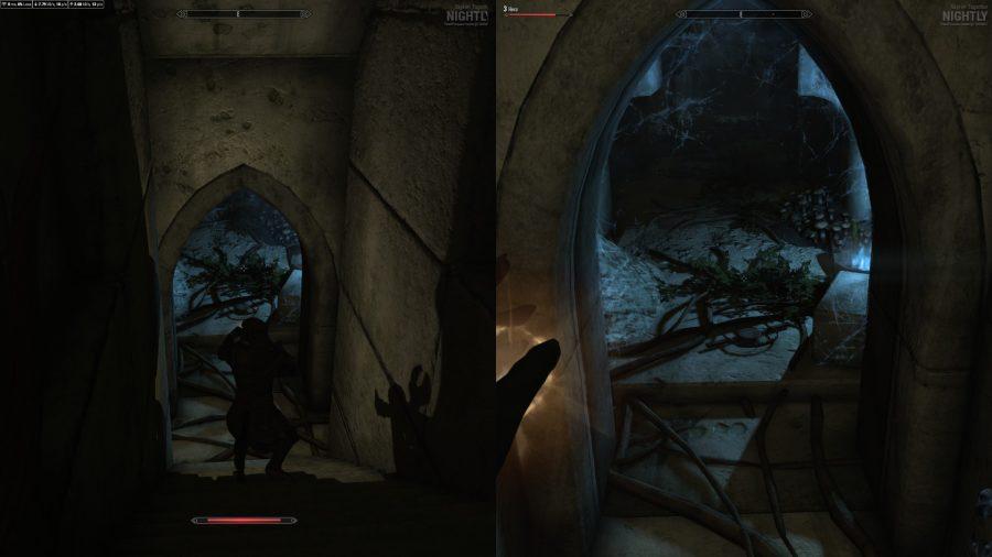 Exploring a dungeon in splitscreen co-op Skyrim