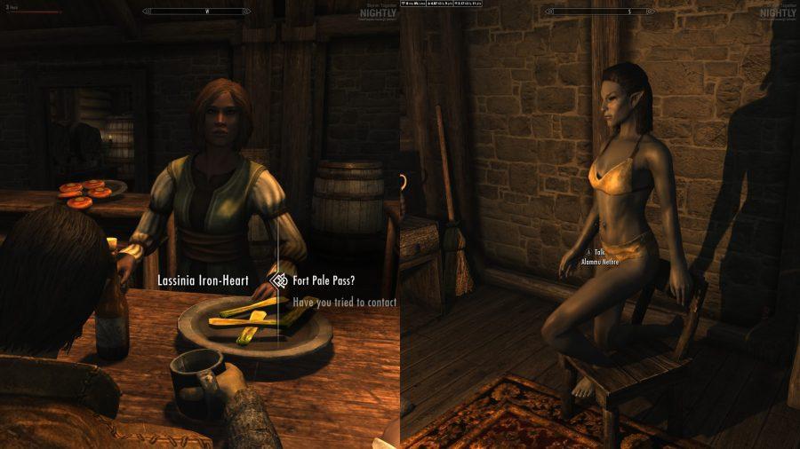 Interacting with a merchant in splitscreen co-op Skyrim
