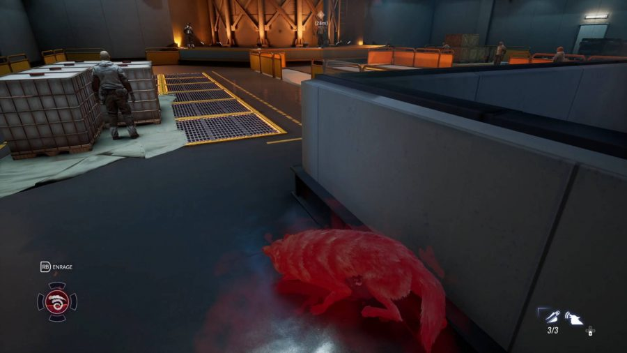 A wolf hides from the guards in the refinery. It has a red aura to indicate that it is harder to spot.