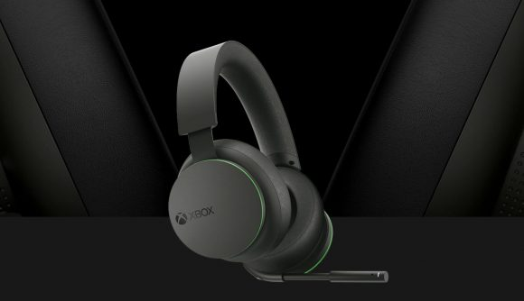 Microsoft's grey Xbox Wireless Headset with a speaker plate that rotates