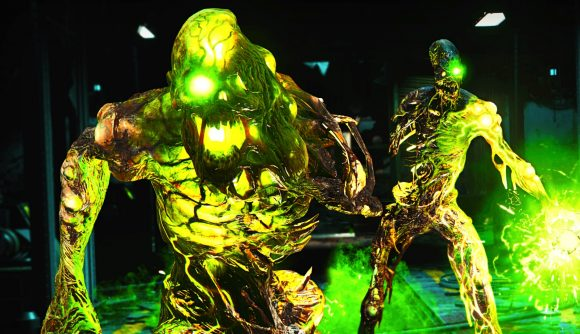 Two luminous green zombies marching toward you in CoD: Cold War