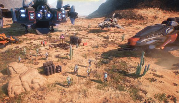 a group of cyberpunks explore their landing site, ships in the backdrop