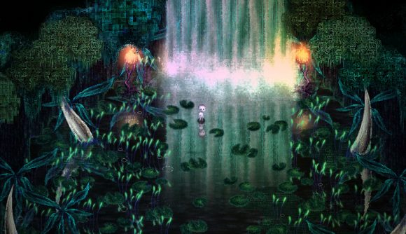 Screenshot of indie game Dap, featuring a small, white creature in a swampland by a waterfall