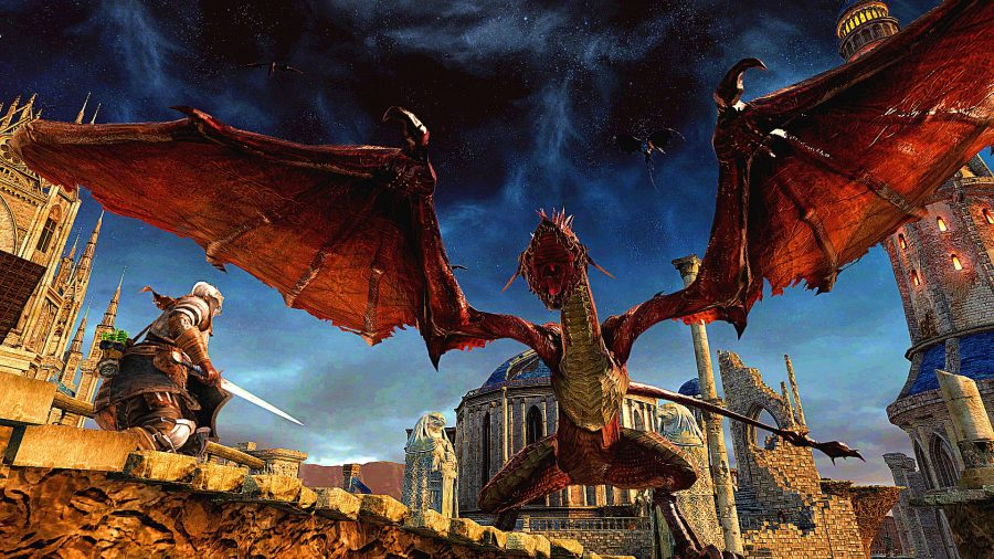 Fighting a dragon near the coast in Dark Souls 2