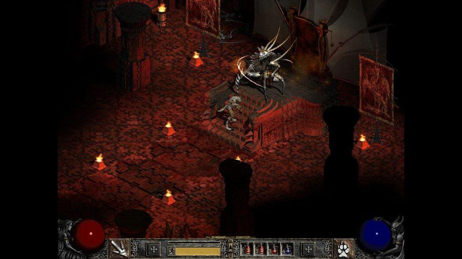 Dalam ekspansi Lord of Destruction Diablo 2, bos terakhir baru Baal duduk di singgasananya.  Setan yang patuh menundukkan kepalanya saat mendekati bentuk spidery Baal.  Brazier yang menyala berbaris di ruang tahta, memandikannya dengan cahaya merah, dan permadani tergantung di langit-langit.