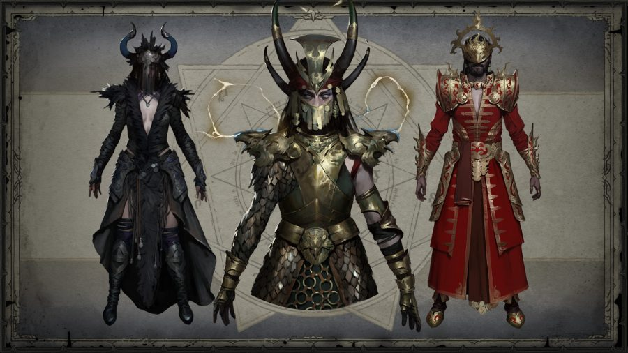 Concept art for the legendary costumes of the witch