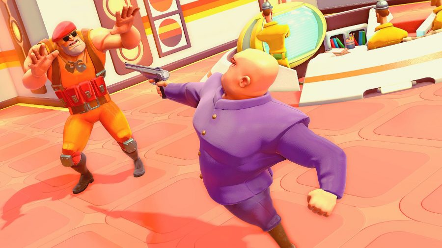 The bald, monocled bad guy facing off against an agent in Evil Genius 2