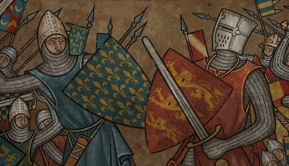non-game artwork for FOG2 medieval showing two knights fighting