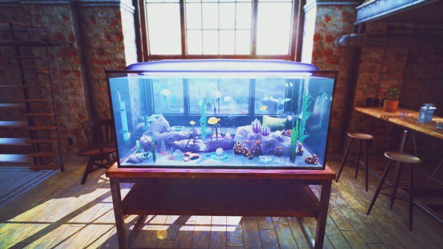 An aquarium in a modern apartment in simulator game Fishkeeper
