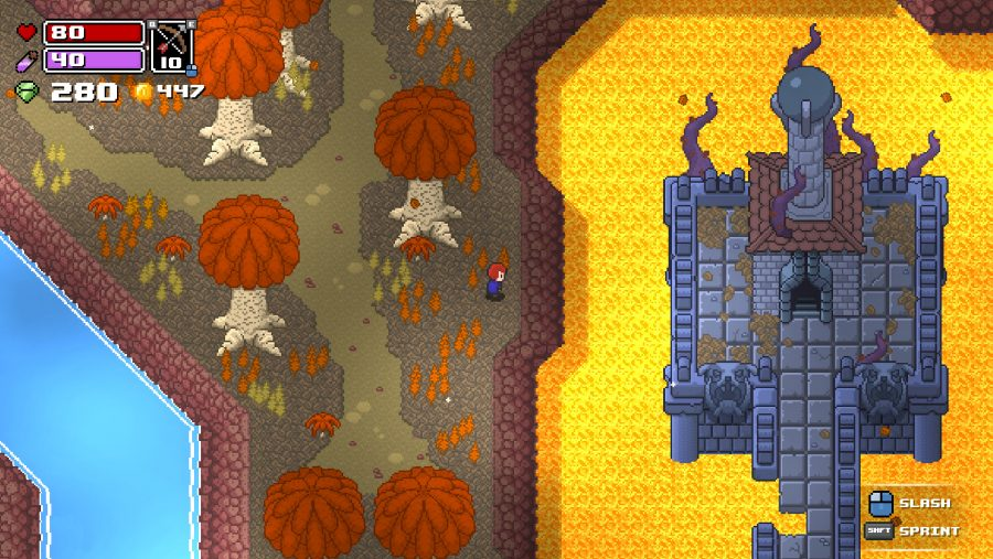 Lava-filled cave in Rogue Heroes