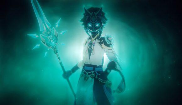 Genshin Impact's new character Xiao wearing his yaksha mask