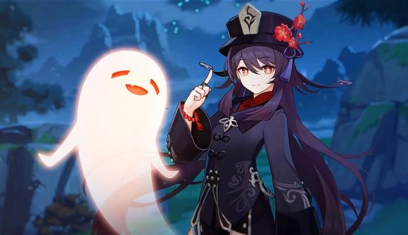 One of Genshin Impact's upcoming characters Hu Tao looks at the screen with a ghost companion