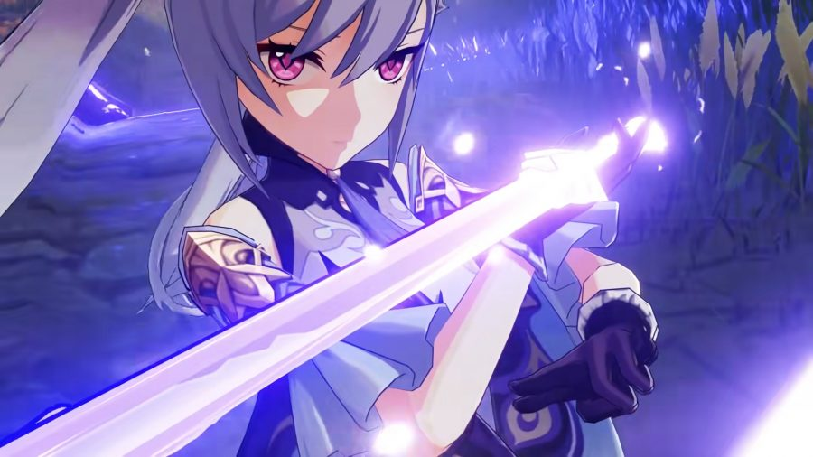 Keqing performing her Starward Sword elemental burst in Genshin Impact