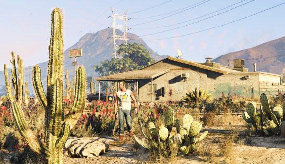 Trevor walking across a field of plants in GTA 5